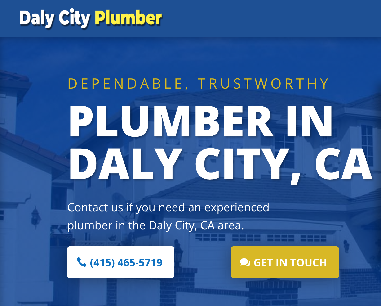 Plumbers in Daly City Website Screenshot
